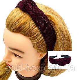 Ободок чалма для волос велюровая бордова