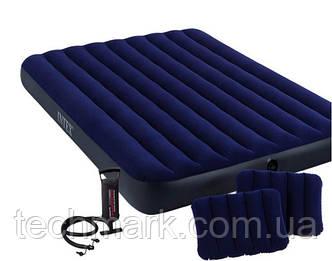 Двуспальный надувной матрас Intex + 2 подушки + насос (152см х203см х 22см)