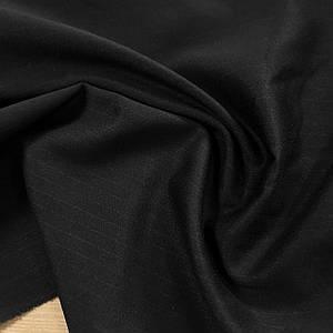 Костюмная ткань тиар на флисе черный в полоску