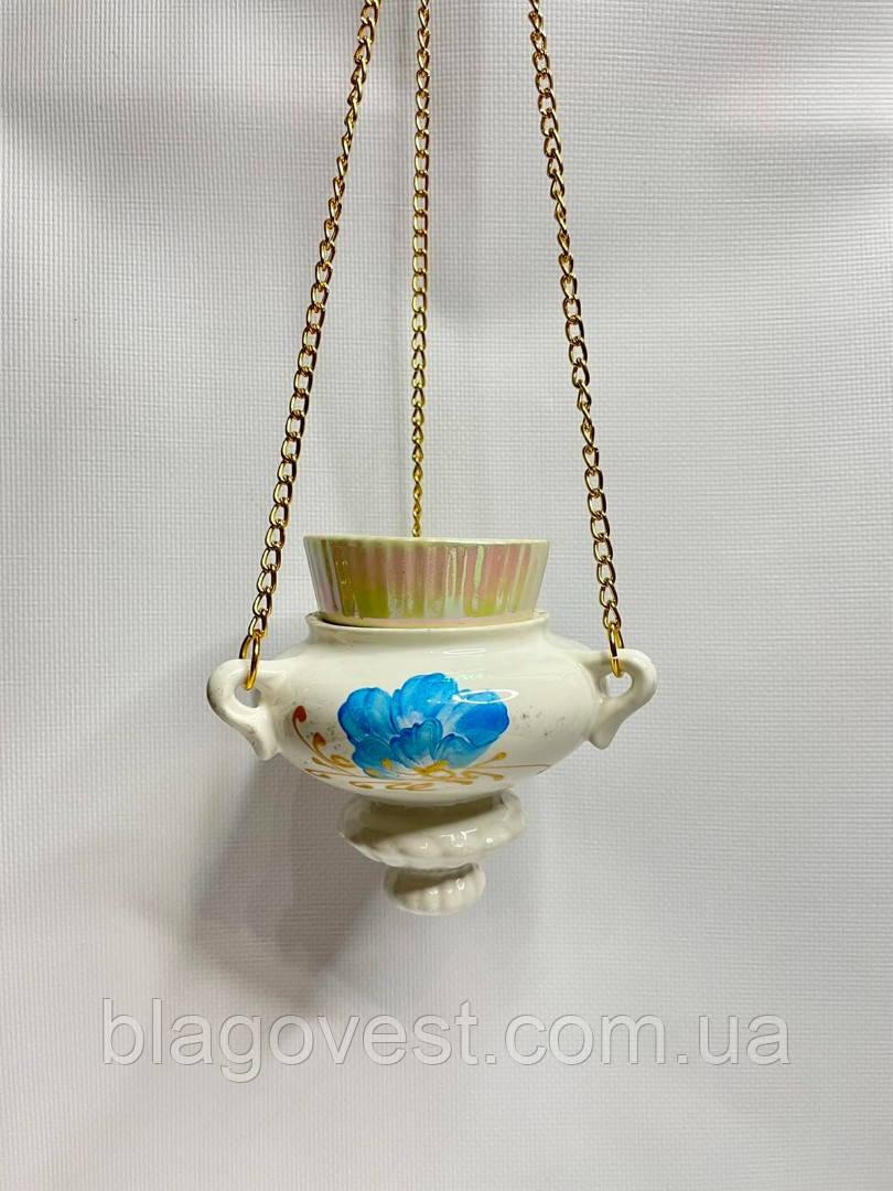 Ю Керамічна лампада підвісна середня розпис зі склянкою