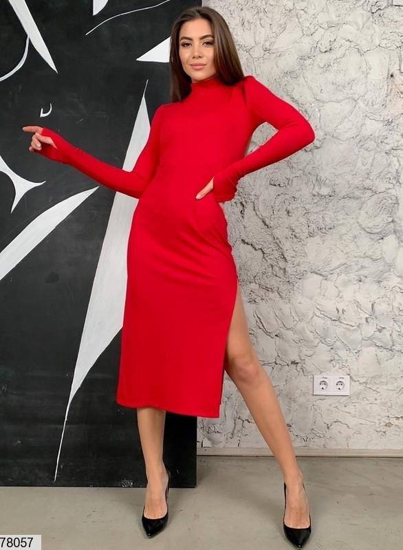 Сексуальное облегающее платье с разрезом с 42 по 46 размер