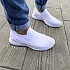 Белые мужские кроссовки носки беговые тканевые текстильные летние легкие, фото 3