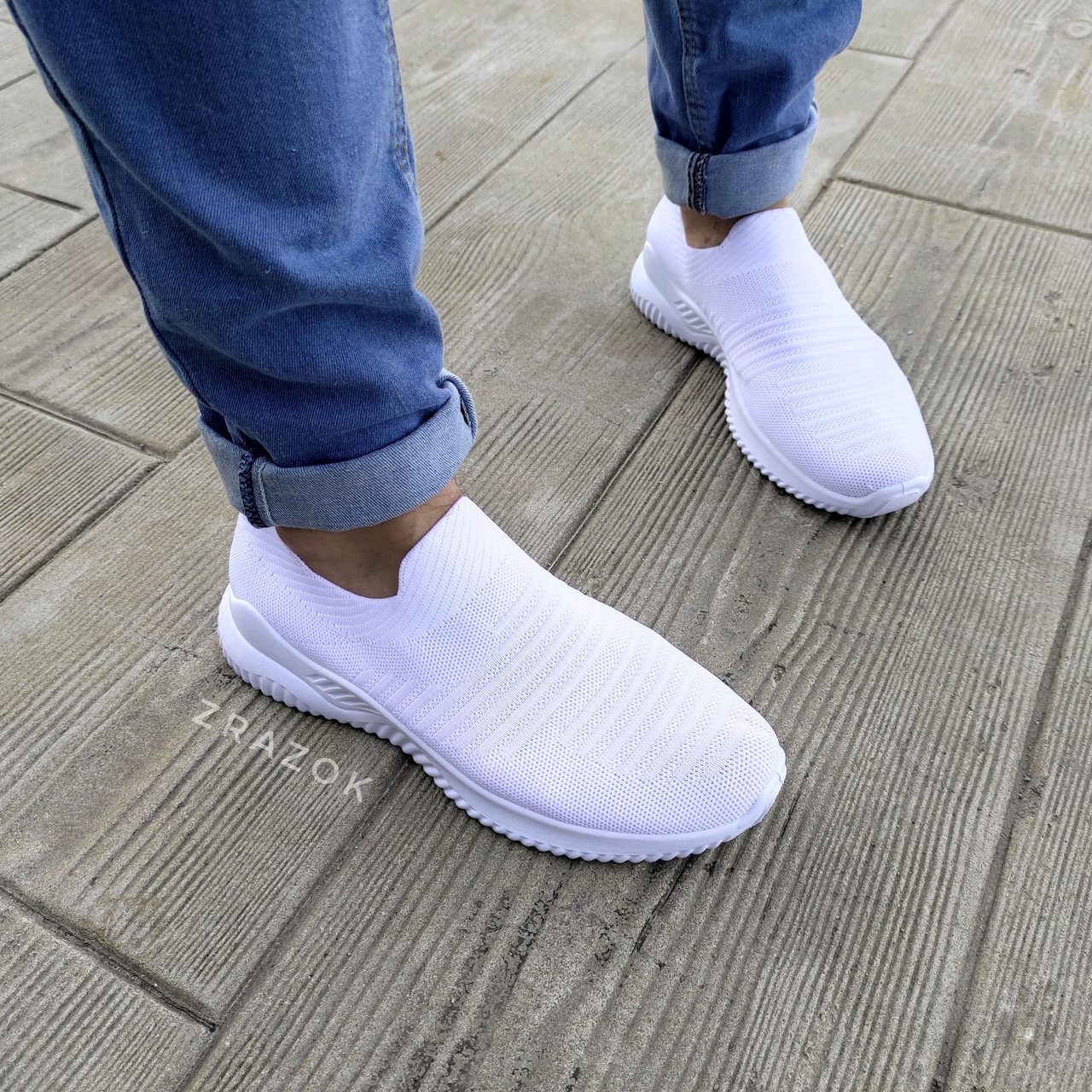 Белые мужские кроссовки носки беговые тканевые текстильные летние легкие