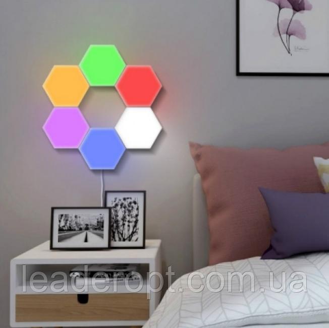 ОПТ Модульная настенная лампа с пультом 3шт Цветная шестигранная, светильник ночник на стену