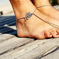 Изящный браслет на ногу цепочка Анклета серебро №7
