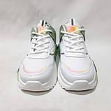 38,39,р. Жіночі кросівки на товстій підошві весняні з еко-шкіри та текстилю білі, фото 2