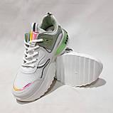 38,39,р. Женские кроссовки на толстой подошве весенние из эко-кожи и текстиля белые, фото 3