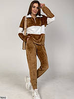 Велюровий спортивний костюм з вставками контрастного кольору з 42 по 48 розмір, фото 2