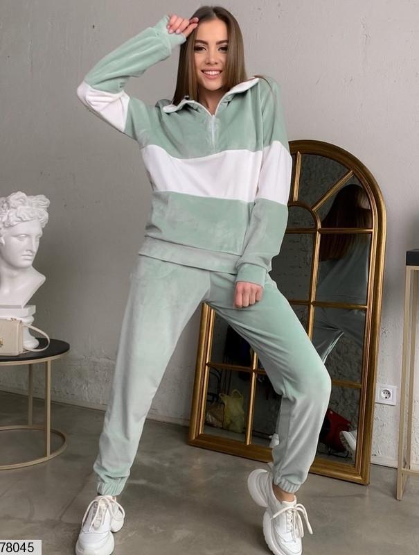 Велюровий спортивний костюм з вставками контрастного кольору з 42 по 48 розмір
