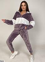 Велюровий спортивний костюм з вставками контрастного кольору з 42 по 48 розмір, фото 5