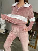 Велюровий спортивний костюм з вставками контрастного кольору з 42 по 48 розмір, фото 7