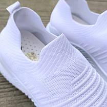 Белые мужские кроссовки носки беговые тканевые текстильные летние легкие, фото 2