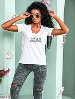 Жіноча футболка з V-подібним вирізом горловини і контрастною написом з 42 по 46 розмір, фото 2