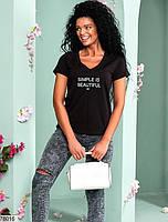 Жіноча футболка з V-подібним вирізом горловини і контрастною написом з 42 по 46 розмір, фото 4