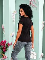 Жіноча футболка з V-подібним вирізом горловини і контрастною написом з 42 по 46 розмір, фото 6