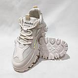 39 р. Жіночі кросівки на товстій підошві весняні з еко-шкіри та текстилю бежеві, фото 2