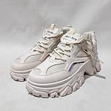 39 р. Жіночі кросівки на товстій підошві весняні з еко-шкіри та текстилю бежеві, фото 4