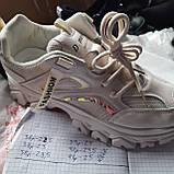39 р. Жіночі кросівки на товстій підошві весняні з еко-шкіри та текстилю бежеві, фото 8