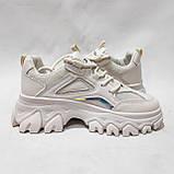 39 р. Жіночі кросівки на товстій підошві весняні з еко-шкіри та текстилю бежеві, фото 5