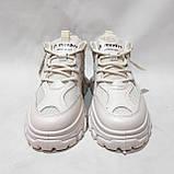 39 р. Жіночі кросівки на товстій підошві весняні з еко-шкіри та текстилю бежеві, фото 3