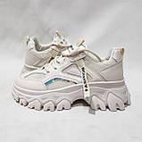 39 р. Жіночі кросівки на товстій підошві весняні з еко-шкіри та текстилю бежеві, фото 6