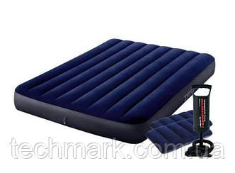 Надувной матрас 191x137x25 см Іntex с подушкой  и ручным насосом