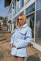 Демисезонная женская стеганая куртка с накладными карманами Mila Nova Куртка К-191 голубого цвета, размер
