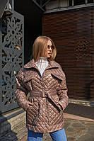 Демисезонная женская стеганая куртка с накладными карманами Mila Nova Куртка К-191 цвета капучино, размер