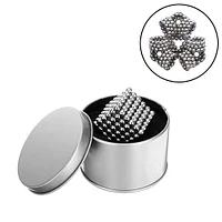 Конструктор магнитный сереброНеокуб 216 шт Neocube магнитные шарики куб цветной антистресс в коробке.