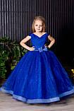 Довге ошатне плаття синє Блиск-Човник, фото 2