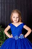 Довге ошатне плаття синє Блиск-Човник, фото 3
