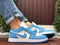 Мужские демисезонные кроссовки Nike Air Jordan 1 Retro,голубые с белым