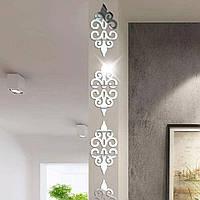 Наклейка декоративная зеркальная на стену мебель набор 10 штук Серебро Вензеля 12,7*12,7