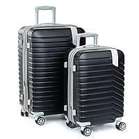 Дорожный Чемодан 2/1 ABS-пластик 8347 black змейка.Купить дорожный чемодан