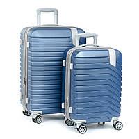 Дорожный Чемодан 2/1 ABS-пластик 8347  blue змейка.Купить дорожный чемодан