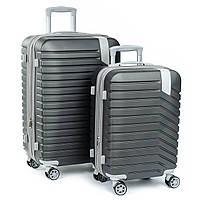 Дорожный Чемодан 2/1 ABS-пластик 8347 grey  змейка.Купить дорожный чемодан