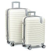 Дорожный Чемодан 2/1 ABS-пластик 8347 white змейка.Купить дорожный чемодан