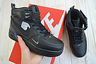 Nike Air Force мужские кроссовки черные найк форс кросовки высокие
