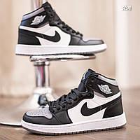 Nike Air Jordan чёрные c белым кроссовки мужские найк высокие
