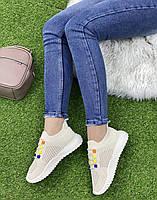 Кросівки жіночі 8 пар в ящику бежевого кольору 36-41, фото 3