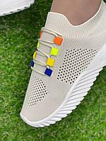 Кросівки жіночі 8 пар в ящику бежевого кольору 36-41, фото 4
