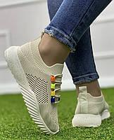 Кросівки жіночі 8 пар в ящику бежевого кольору 36-41, фото 6