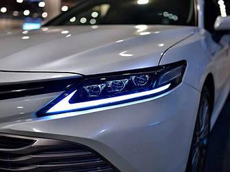 Передние фары Toyota Camry 70 тюнинг Full led оптика (стиль Lexus)