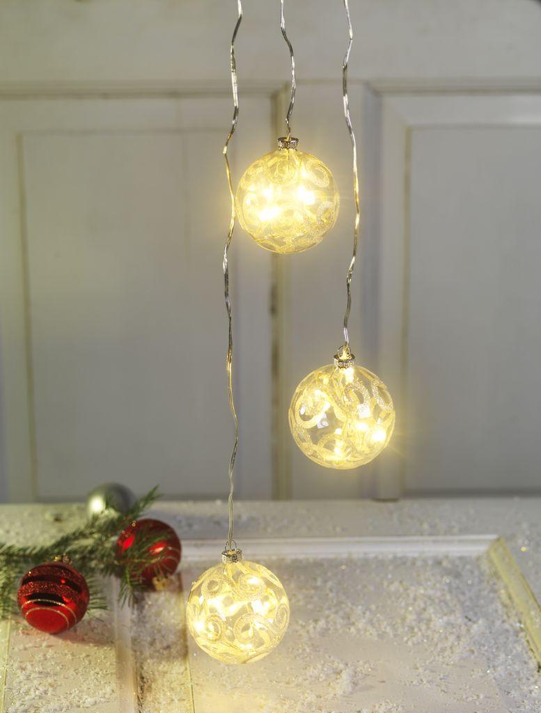 Новогодние светящиеся шарики LED 3 шт. диаметр 8 см