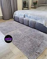 Светло-серый меховый ворсистый коврик Травка 200х90 | Прикроватный коврик с длинным ворсом