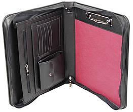 Мужская портфель-папка из эко кожи Portfolio черная