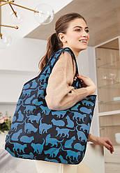 Отзывы (4 шт) о Faberlic Cумка складная Забавные котики цвет чёрно-голубой Lovely Moments арт 910170