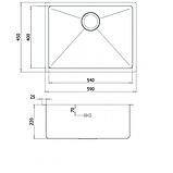 Кухонна мийка з нержавіючої сталі 590х450 AquaSanita ENN100L, фото 2