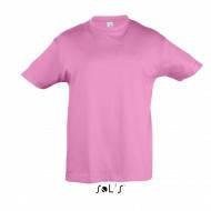 Детская хлопковая футболка, розовая орхидея,  короткий рукав, однотонная