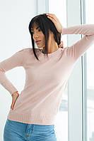 Джемпер с изящным кружевом и бусинами на плечах LUREX - пудра цвет, L (есть размеры), фото 1